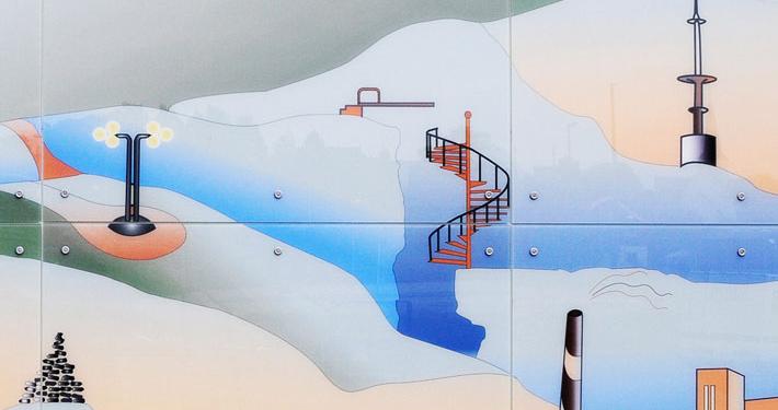 Foto av glassfasaden Vidsyn av kunstner Cathrine Kullberg